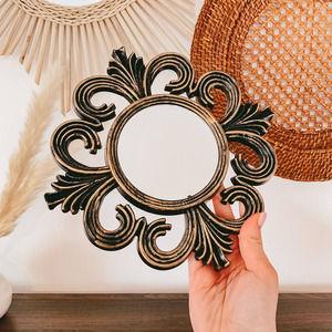 Mid Century Faux Aged Brass Baroque Mini Mirror